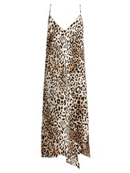 Raey Asymmetric Hem Leopard Print Twill Slip Dress
