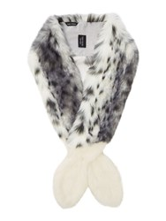 Helen Moore Faux Fur Two Tone Slim Vixen Scarf Grey