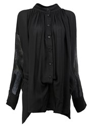 Ann Demeulemeester Gathered Neck Buttoned Blouse Black