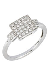 Bony Levy 18K White Gold Diamond Square Ring Size 6.5 0.16 Ctw