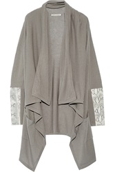 Autumn Cashmere Draped Cashmere And Snake Effect Leather Cardigan Nude