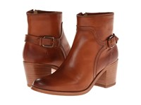 Frye Janis Shield Short Cognac Smooth Vintage Leather Cowboy Boots Brown