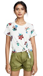 Madewell Rena Knot Front Tee Cloud Lining Tropical Floral