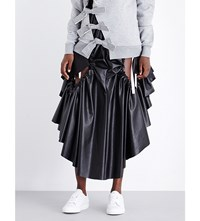 Fyodor Golan Side Gathered Cutout Leatherette Skirt Jersey Black
