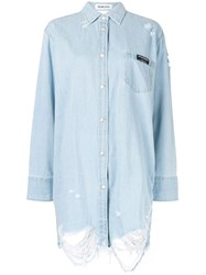 Ground Zero Cut Out Denim Shirt Blue