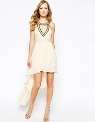 Tfnc Chiffon Dress With High Low Hem And Embellishment Nude