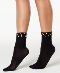 Inc International Concepts I.N.C. Imitation Pearl Ankle Socks Black