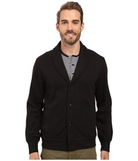 Perry Ellis Shawl Button Front Mix Media Cardigan Black Men's Sweater