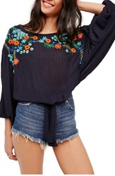 Free People Women's Up And Away Embroidered Peasant Blouse Indigo Blue