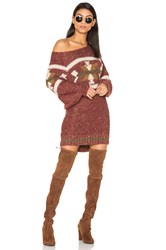 Free People Northern Lights Sweater Mini Dress Burgundy
