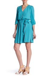 Daniel Rainn Surplice V Neck Pleated Dress Blue