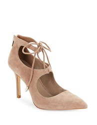 424 Fifth Benci Suede Pumps Taupe