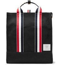 Thom Browne Striped Grosgrain Trimmed Pebble Grain Leather Trimmed Canvas Tote Bag Black