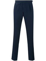 Incotex Flap Detail Tapered Trousers Men Cotton Linen Flax 52 Blue