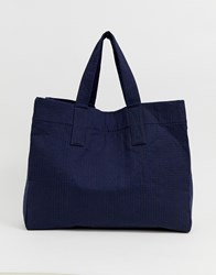 Weekday Recycled Edition Large Tote Bag In Navy Blue