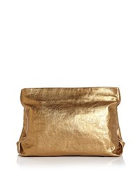 Halston Heritage Leather Clutch Copper Gold