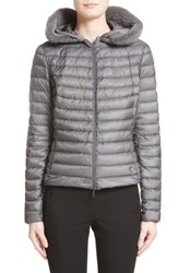 Moncler Women's Sorbus Genuine Mink Fur Trim Quilted Jacket Grey