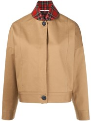 Rosetta Getty Plaid Collar Bomber Jacket Nude And Neutrals