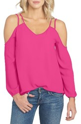 1.State Women's Cold Shoulder Crepe Blouse Fuchsia Pop