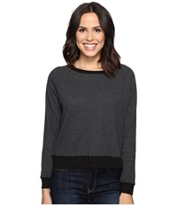 Allen Allen Long Sleeve Raglan Cropped Crew Black Women's Long Sleeve Pullover