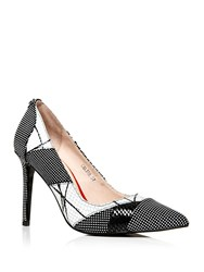 Moda In Pelle Calida Pointed Toe Stiletto Court Shoes Black White