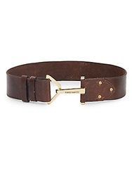 Vince Camuto Hook Buckle Leather Belt Chocolate