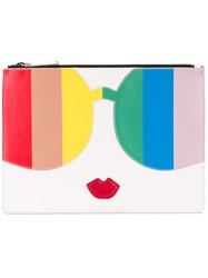Alice Olivia Contrast Figure Clutch Bag Women Leather One Size White