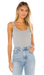 Chaser Cropped Double Scoop Ring Cami In Grey. Heather Grey