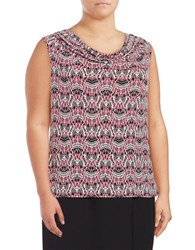 Nipon Boutique Plus Printed Cowlneck Top Gold Magenta