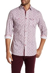 Smash Long Sleeve Paisley Printed Woven Shirt Red