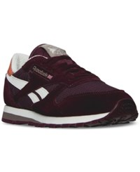 Reebok Men's Snipes Classic Leather Camp Out Casual Sneakers From Finish Line Mystic Maroon Moondust Pa