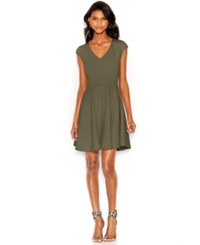 Bar Iii Cap Sleeve Fit And Flare Dress Green