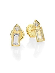 Ila Colette White Sapphire Diamond And 14K Yellow Gold Baguette Pear Stud Earrings