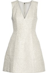 Alice Olivia Pacey Metallic Cotton Blend Tweed Mini Dress Ivory