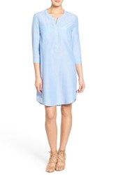 Velvet By Graham And Spencer Cotton Chambray Henley Shirtdress Blue