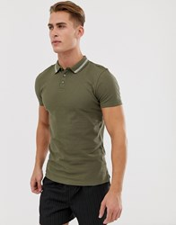 New Look Muscle Fit Tipped Polo In Khaki Green