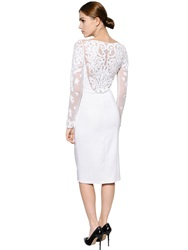 Temperley London Lace And Stretch Cady Pencil Dress White