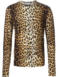 Moschino Leopard Print Sweater Brown
