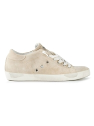 Leather Crown Eyelet Lace Up Sneakers Nude And Neutrals