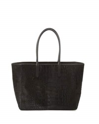 Ralph Lauren Croc Embossed Calf Hair Shopper Tote Bag Black