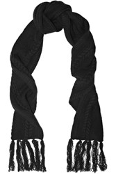 Frame Fringed Cable Knit Wool And Cashmere Blend Scarf Black Usd