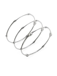 John Hardy Bamboo White Topaz And Sterling Silver Bangle Set