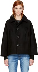 Dsquared2 Black Wool Short Coat