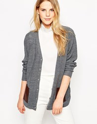 Le Mont St Michel Cardigan With Contrast Pockets Grey