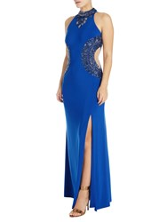 Adrianna Papell Beaded Halterneck Gown Royal Blue