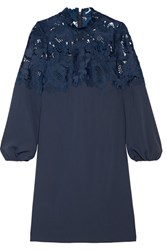 Lela Rose Guipure Lace Paneled Crepe De Chine Dress Storm Blue