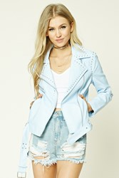 Forever 21 Studded Faux Leather Jacket Sky Blue