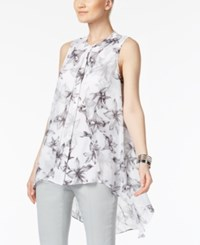 Alfani Floral Print Flyaway High Low Blouse Only At Macy's White Black Large Lilly