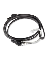 Miansai Hook Leather Bracelet Black