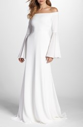 Joanna August Bowie Off The Shoulder Bell Sleeve Gown White